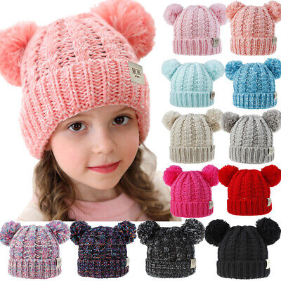Kids Baby Boys Girls Beanie Knit Hat Cap Winter Warm Double Pom Pom Bobble Hats