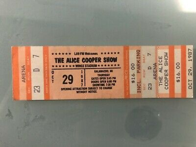 ALICE COOPER USA Unused Concert Ticket 1987 29th October