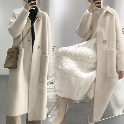 2019 HOT Womens Ladies Beige Long Mink Fur Coat Korean Parka Cardigan Jackets Sz