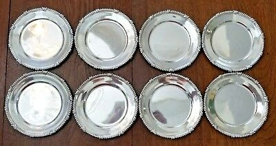 "Set of 8 TIFFANY Sterling Silver 6.25"" BREAD PLATES 1907-47 Leaf & Rope border"