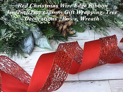 4m (2m&2m) CHRISTMAS WIRE EDGE RED RIBBON X38mm WREATH BOWS/TREE DECORATIONS