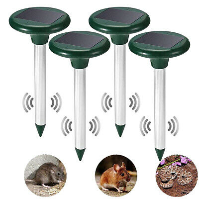 Solar Powered Ultrasonic Sonic Mouse Mole Pest Rodent Mosquito Repellent Yard EN