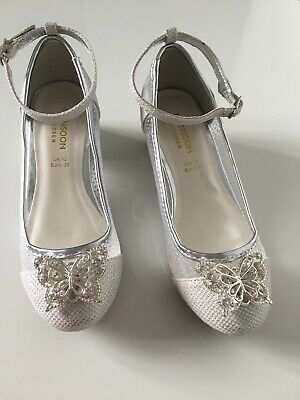 Girls Monsoon Party Wedding Christmas Silver Shoes - UK Size 12