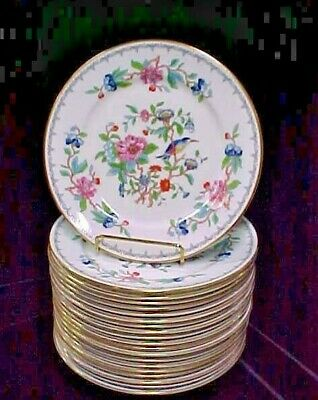 """AYNSLEY China PEMBROKE  8 1/4"""" Salad Plate Gold Bird Floral ~MULTIPLE AVAILABLE"""