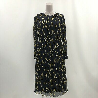 PHASE EIGHT Navy Blue Yellow Floral Long Sleeve Waisted Dress Size 18 TH311080