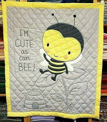 "New Hand Quilted "" I'm Cute As Can Bee"" Baby Blanket"