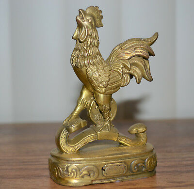 Feng Shui Brass Chinese Zodiac Animals Rooster Statue On Ru Yi