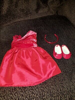 American Girl Rosy Red Outfit Dress Charm MYAG Gift Box NIB Shoes Holiday