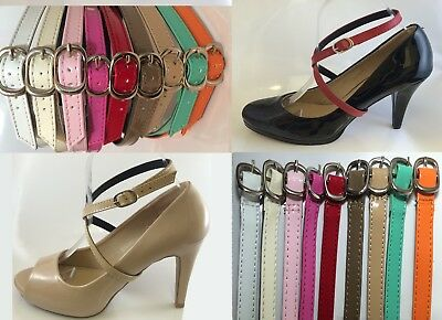 Adjustable Detachable Shoe Straps tie GLOSSY white pink red brown teal orange