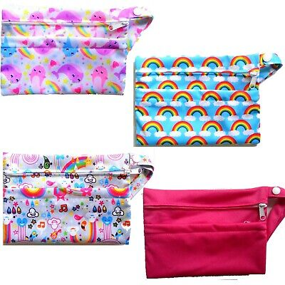 2 Pocket Double Zip Wet /Dry Waterproof Nappy Bag Hot Pink Narwhal Rainbow Small
