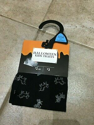 NEW! Girls Halloween black tights with sparkly unicorns / Age 10-13 years