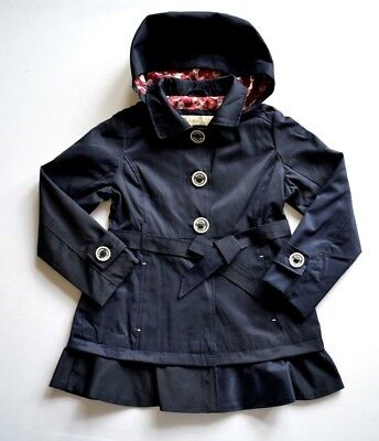 Michael Kors kids jacket coat navy blue Hood Belt Age 6 Years girls