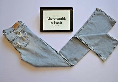 Abercrombie & Fitch Girls Jeans Slim Fit distressed Light Blue Flared 16 Years