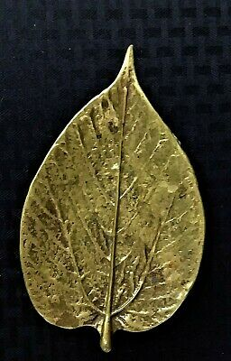 Vtg Virginia Metalcrafters Paper Mulberry Solid Brass Leaf Made in the U.S.A.