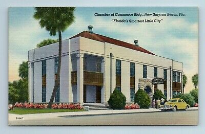 New Smyrna Beach Florida Chamber Of Commerce Building Vintage Unposted Postcard