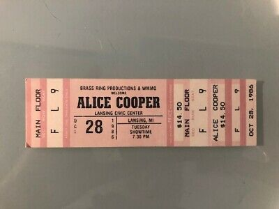 ALICE COOPER unused Concert Ticket 1986 28 October