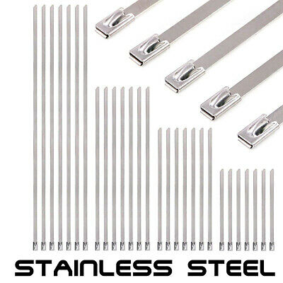 1 5 10 20 50 100 STAINLESS STEEL STRONG METAL CABLE WRAP ZIP TIES- 4.6mm x 300mm