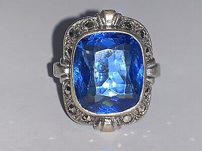 Antique Style Sterling Silver Blue Sapphire & Rhinestones Cocktail Ring Sz 4.5
