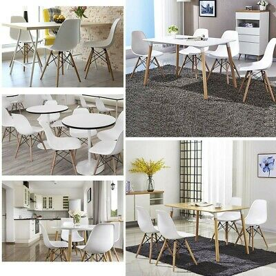 Modern Style Dining Side Chair Mid Century DSW Plastic Wood Legs White Set of 4