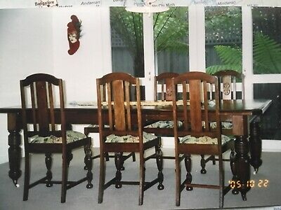 Large Edwardian extension dining table and 6 chairs