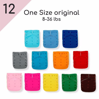 12 KaWaii Baby One Size Original Squared Cloth Diapers + 24 Mom Bamboo Inserts