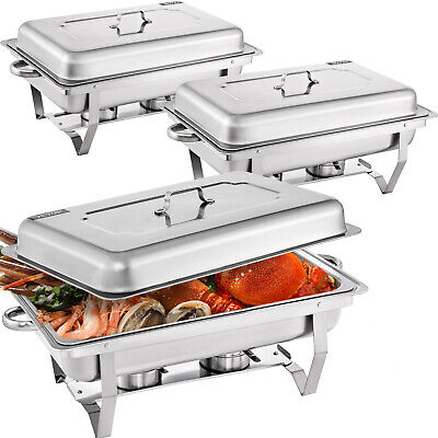 3 Packs Chafing Dish with 1/2 Inserts 9L Chafer Buffet Food Warmer BBQ With Clip