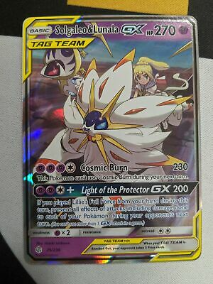 Solgaleo & Lunala Tag Team GX 75/236 Cosmic Eclipse Pokemon Card Ultra Rare NM