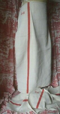Antique French classic hand made pure linen apron red JG monogram, red stripes