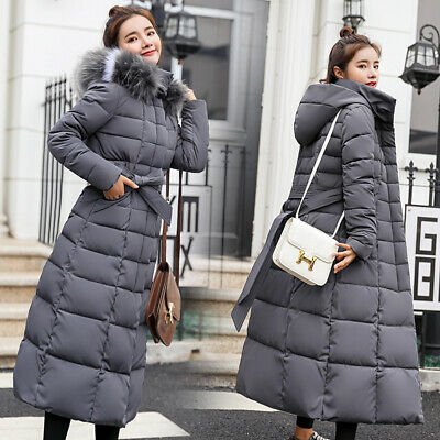 Womens Winter Extra long Coat Padded Plus Jacket Ladies Warm Thicken Fur Hooded
