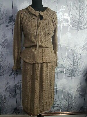 Vintage Debenhams Skirt Suit Size 12 Brown Skirt & Cardigan