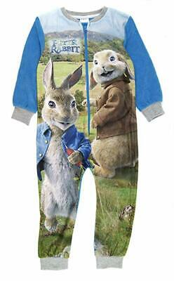 Kids Peter Rabbit All In One Sleepsuit Pyjamas Pjs Warm Nightwear Boys Gift