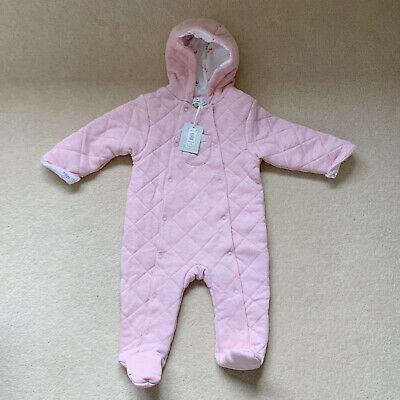 John Lewis & Partners Baby Quilted Pramsuit Pink Girls 6 - 9 Months Snowsuit