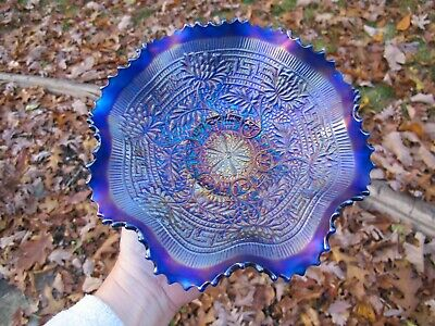NORTHWOOD Embroidered Mums Antique Carnival Glass BLUE Bowl Iridescent Art NICE!