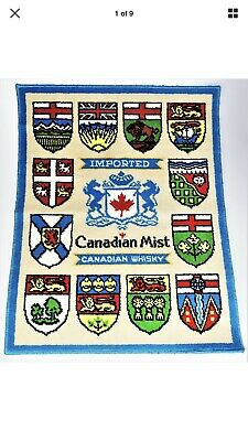 Vintage Canadian Mist Whiskey Rug 27x34 Shields Coat of Arms Logo