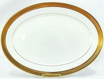 "Oxford Lenox Maldon Oval Serving Platter 16"" Gold Encrusted Bone China Excellent"