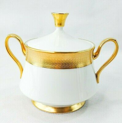 Oxford Lenox Maldon Sugar Bowl & Lid Gold Encrusted White Bone China USA MINT