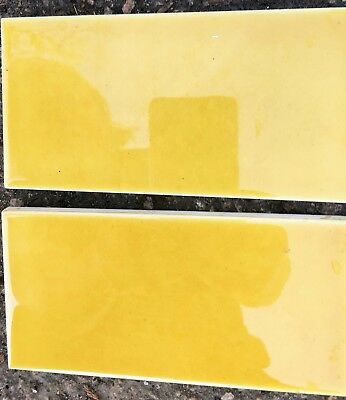 4 plain yellow handpainted & glazed fireplace set of luxurious-spacer tiles