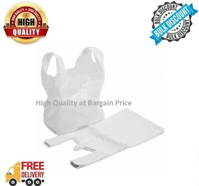 10-1000 Carrier Bags White Strong Plastic Vest Style Polythene Shopping Bag