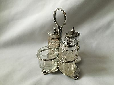 Silver Plated EPNS Holder With 4 Glass Pots And Spoon Table Set