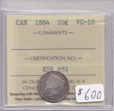 1884 Canadian 10 Cent Coin Iccs Cert Vg10
