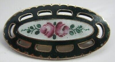 Antique Art Nouveau/Edwardian enamel brooch pin flower design