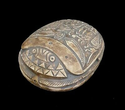 Rare Huge Scarab Egyptian Ancient Bc Bead Amulet Mummy Nile Ca Stone hieroglyph