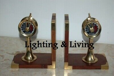 Bookend engine telegraph steering wheel nautical maritime antique style Vintage