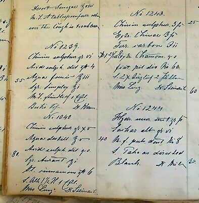 RARE Book HANDWRITTEN Recipes, PRESCRIPTIONS 5,000+ 1872-75 BROOKLYN Apothecary