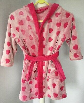 Sainsbury's Tu girls dressing gown pink with hearts size 4-5 years