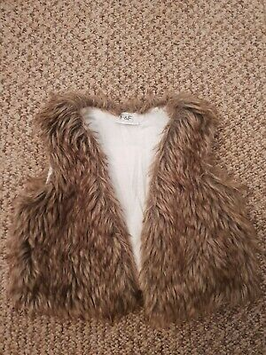 F&F Baby Girls Brown Faux Fur Gilet Age 0-3 Months