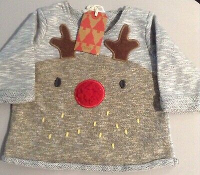 Bnwt Next Boys Sweatshirt Top ,Age 0-3 Months , Christmas, Reindeer