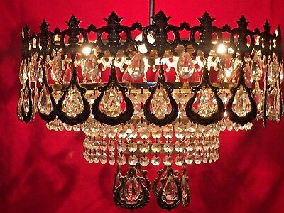 PAIR Exquisite Crystal and Brass Chandeliers, Antique,  39cm French/Spanish.