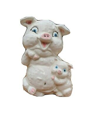 Vintage Ceramic Mother and Baby Pig Coin Bank Piggy Bank