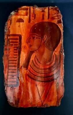 Egyptian Plaque Ancient Antique Wall Relief Egypt pottery Rare Stela Hieroglyph